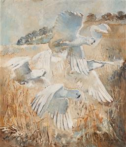 Sale 9125 - Lot 505 - F. J. (John) Beeman (1926 - ) Sulphur Crested Cockatoos, 1977 oil on board 70 x 59.5 cm (frame: 81 x 71 x 4 cm) signed and dated low...