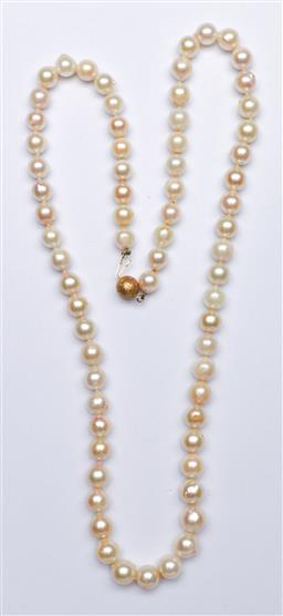 Sale 9144 - Lot 188 - A vintage Pearl necklace with 14k gold clasp