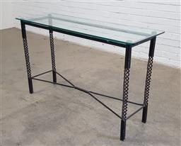 Sale 9174 - Lot 1442 - Wrought iron based hall table with glass top (h:78 x w:130 x d:44cm)