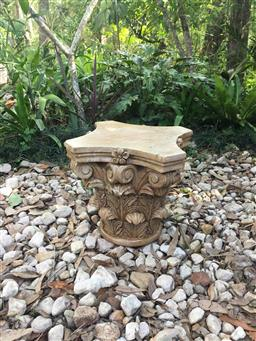 Sale 9175G - Lot 19 - Carved Genuine Stone Column Capital Top .General Wear , slight Chipping ,Natural Stone Vein Lines,Marks, appears has previous repair...