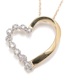 Sale 9209J - Lot 343 - A 14CT GOLD DIAMOND HEART PENDANT NECKLACE; open heart frame set with 9 round brilliant and single cut diamonds, size 19mm x 18mm, o...