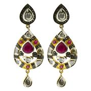 Sale 8050B - Lot 88 - A PAIR OF RUBY AND DIAMOND DROP EARRINGS; set with pear and round cut rubies (treated) with single and table cut diamonds in silver...