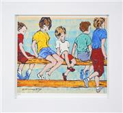 Sale 8235A - Lot 78 - David Bromley (1960 - ) - Kids On The Fence 21 x 25cm