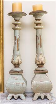Sale 8259A - Lot 56 - A Pair of 17th Century Style Limed Pricket Candlesticks, each modelled with thistle shaped scones, turned and fluted pillars, all on...