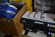 Sale 8478 - Lot 2527 - Box with Tools, Lap Top Cases, Cable, Desk Stands, etc