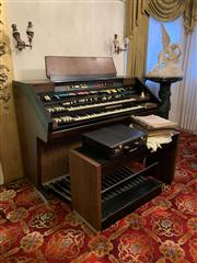 Sale 8804A - Lot 40 - A Hammond touch tempo electric organ with stool and assorted sheet music, H 110 W 136 D 80cm