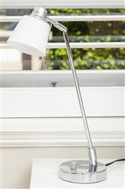 Sale 8863H - Lot 57 - A Telbix Pty Ltd contemporary adjustable desk lamp with frosted white shade, Height 48cm