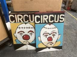 Sale 9101 - Lot 2070 - Artist Unknown (2 works) Circus: Clowns acrylic on board, each 60 x 40cm and unsigned