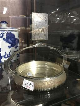 Sale 9106 - Lot 2395 - WMF Plated Ashtray with match holder, chips to dish