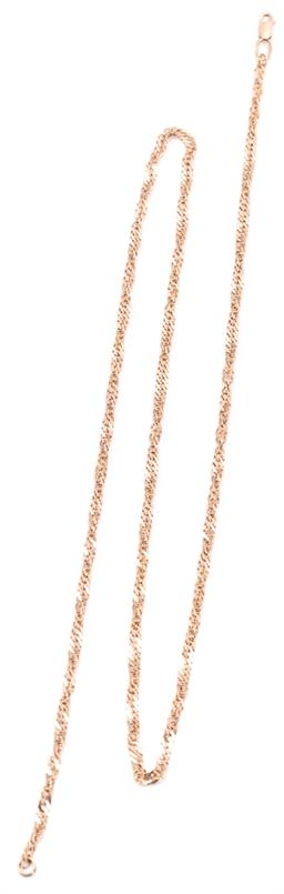 Sale 9168J - Lot 340 - A 14CT GOLD CHAIN; 2.7mm wide flat Prince of Wales chain to parrot clasp, length 54cm, wt. 7.10g.