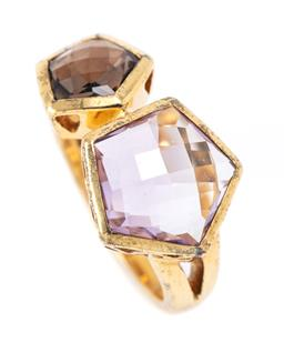 Sale 9186 - Lot 352 - A SILVER GILT STONE SET RING; collet set with pentagonal shape chequerboard cut smokey quartz and an amethyst, width 14mm, size Q, w...
