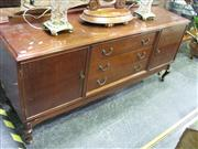Sale 7972A - Lot 1038 - Raised Timber 3-Drawer Sideboard on Cabriole Legs