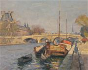 Sale 8000 - Lot 159 - Will Ashton (1881 - 1963) - The Pont Royal, Paris oil on canvas on board