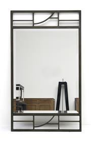 Sale 8216A - Lot 52 - Alpha mirror, bevelled edge mirror in forged iron frame, charcoal finish, W 70 x H 120cm, RRP $750.00