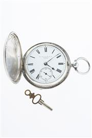 Sale 8293 - Lot 321 - A STERLING SILVER FULL HUNTER POCKET WATCH; white dial (hairline crack)  with Roman numerals, subsidiary seconds, swing out movement...