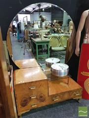 Sale 8424 - Lot 1016 - Art Deco Round Mirrored Back Dresser with Four Drawers