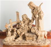 Sale 8470H - Lot 39 - A resin figural group of the nativity, H 45cm