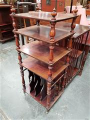 Sale 8693 - Lot 1020 - Victorian Rosewood Combination Whatnot & Canterbury, with four shelves on turned supports & vertical dividers below