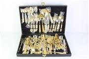 Sale 8796 - Lot 66 - Gold Plated Cutlery Setting in canteen with extras