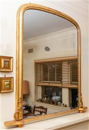 Sale 8882H - Lot 51 - A Victorian gilt overmantel mirror with arched top and applied scrolls. Height 135cm x width 142cm