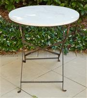 Sale 9081H - Lot 5 - A circular marble topped garden table on wrought iron base, Height 66cm x Diameter 61cm