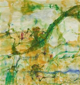 Sale 9110A - Lot 5002 - John Olsen (1928 - ) Frogs & Banana Leaf watercolour and pastel 99.5 x 94.5 cm (frame: 149 x 138 x 4 cm) signed and titled lower right