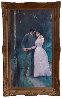 Sale 9103M - Lot 759 - A decorative print after Tom Roberts of a courting couple in bush, Frame Size 81cm x 50cm