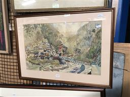 Sale 9176 - Lot 2103 - Artist Unknown, Mountain village scene, watercolour and, frame: 44 x 61 cm, unsigned -