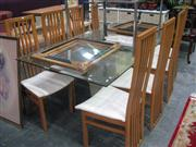 Sale 7933A - Lot 1195 - Dining Setting inc Modern Glass Top Table with 8 Highback Chairs
