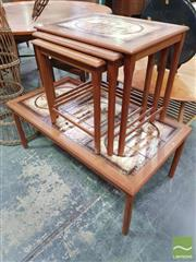 Sale 8435 - Lot 1052 - Danish Teak Tiled Coffee Table and Matching Nest of Tables
