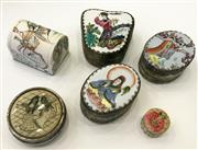 Sale 8436A - Lot 34 - A group of six pill boxes of Eastern interest including Chinese porcelain lidded examples.