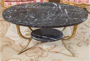 Sale 8470H - Lot 18 - An Empire style marble top side table with black marble oval top the brass base with lower tier and hoof feet, H 41 x L 82 x W 52cm