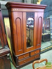 Sale 8539 - Lot 1061 - Late 19th Century Cedar Wardrobe, with mirror panel door having later carved panel, above three drawers, H 220