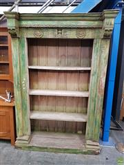 Sale 8566 - Lot 1327 - Tall Rustic Timber Open Bookshelf (215 x 140 x 56)
