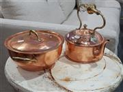 Sale 8740 - Lot 1046 - Copper & Brass Kettle & Covered Draining Dish