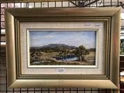 Sale 8784 - Lot 2058 - Lukunic - Sheep may safely graze, oil on canvas, frame size: 25.5 x 34.5cm, signed lower right