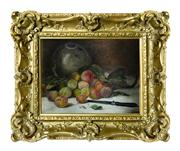 Sale 8828A - Lot 8 - Antique French still life of damsons, oil on canvas on board in an ornate gilt frame. Signed lower right. 27 x 35 cm