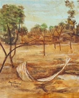 Sale 8992 - Lot 527 - Ray Crooke (1922 - 2015) - Landscape, Nth Qld 49.5 x 39.5 cm (frame: 73 x 63 x 5 cm)