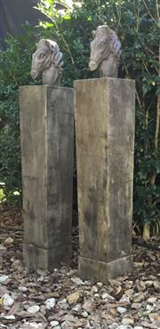 Sale 9080G - Lot 30 - Pair Of Carved Genuine Stone Horse Gateway Posts .General Wear , Marks .size 120cm HX 20cm W