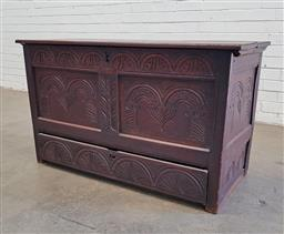 Sale 9126 - Lot 1134 - 18th Century Oak Mule Chest, with arcaded frieze & similar carved panels, with single long drawer below & candle box to interior (h:...