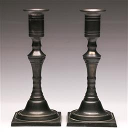 Sale 9136 - Lot 212 - A pair of Art-deco style pewter candle sticks H20cm