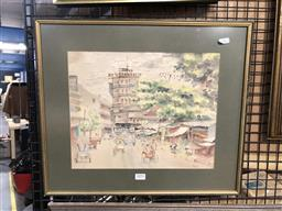 Sale 9172 - Lot 2093 - Southeast Asian school, busy street and market scene, water colour frame: 42 x 49 cm, signed lower right -