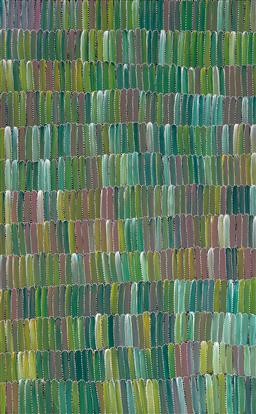 Sale 9244 - Lot 520 - JEANNIE MILLS PWERLE (1965 - ) Bush Yam acrylic on canvas 155 x 96 cm (stretched and ready to hang) signed verso; certificate of aut...
