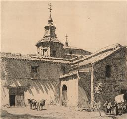 Sale 9216A - Lot 5077 - LIONEL LINDSAY (1874 - 1961) San Andreas, Toledo, Spain drypoint etching, ed. A/P 21 x 22 cm (frame: 45 x 45 x 2 cm) .