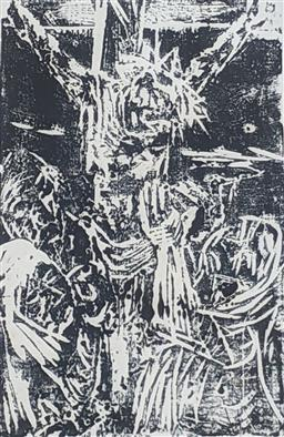 Sale 9257A - Lot 5049 - VICTOR RUBIN (1950 - ) Calvary, 1966 woodcut 24 x 18 cm (frame: 33 x 27 cm) signed lower right