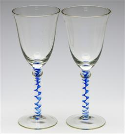 Sale 9253 - Lot 216 - A pair of art glass toasting glasses (H:21cm)