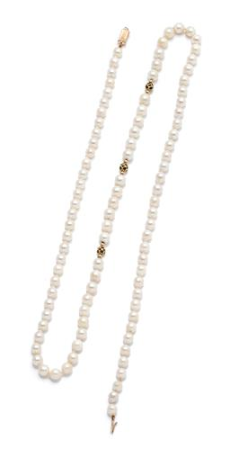 Sale 9260H - Lot 320 - A cultured pearl necklace; 6-6.5mm slightly baroque pearls with 3 sapphire set 14ct gold rondels and gold reeded clasp, length 74cm.