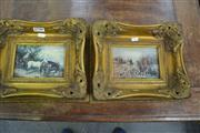 Sale 8093 - Lot 1739 - Pair of Hunting Prints in Good Gilt Frames