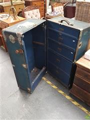 Sale 8566 - Lot 1273 - Vintage Metal Bound & Fitted Travelling Trunk
