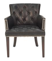 Sale 8620A - Lot 63 - A pair of silvered button back armchairs upholstered in ebony leather, H 85 x W 64 x D 68cm